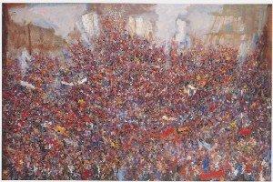 Lapoujade, le peintre des foules sans privilèges 75_delire_de_foule_1985-300x200